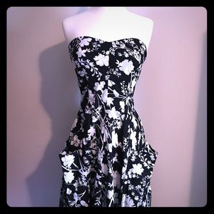 Strapless Floral Cotton Sundress with Pockets